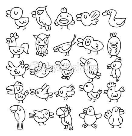 Hand zeichnen vogel element