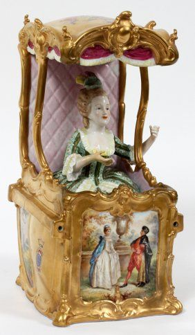 French Porcelain Lady In Sedan Chair Sevres Style