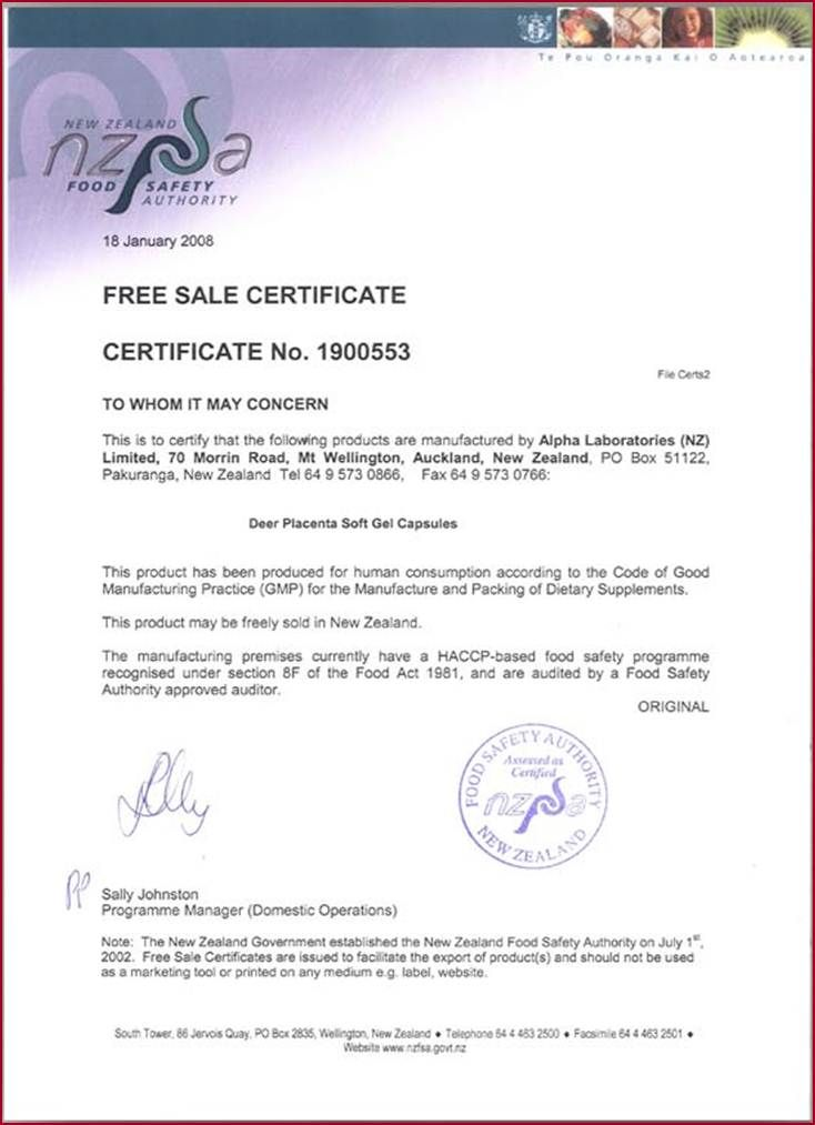The certificate from NZFSA - New Zealand