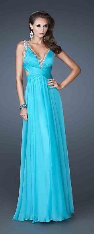 Cute V-neck Blue Natural A-Line Chiffon Prom Dresses Sale tkzdresses16542xdf #longdress #promdress
