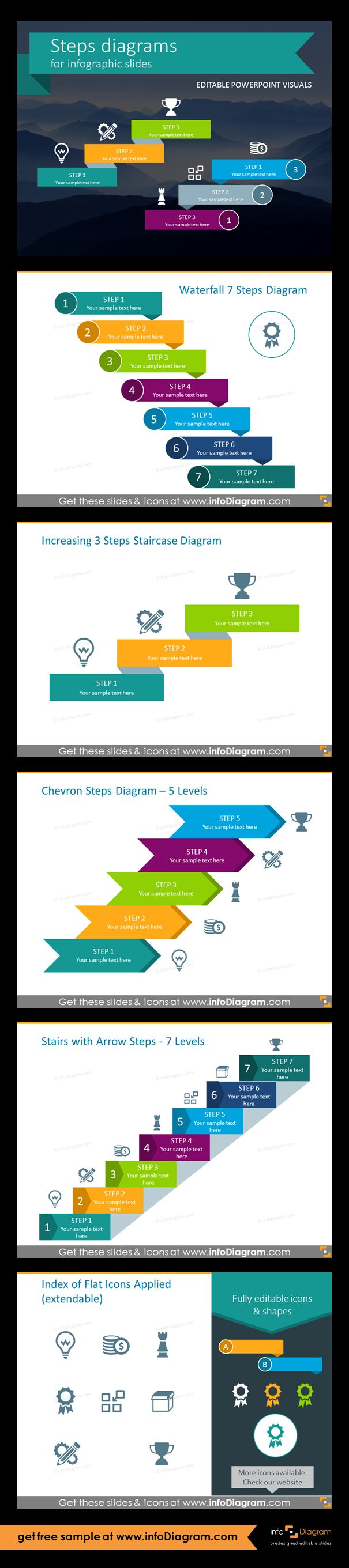 Template slides for Steps diagrams and Staircase infographics. Editable PowerPoint graphics for showing progress flow charts, project stages, planning phases and roadmaps by modern infographics. Fully editable style, size and colors. Waterfall 7-levels diagram, increasing 3-steps staircase, chevron steps - 5 levels, stairs with arrow steps - 7 levels, flat icons. Engage the user at the same time being expressive and compact within your slides.