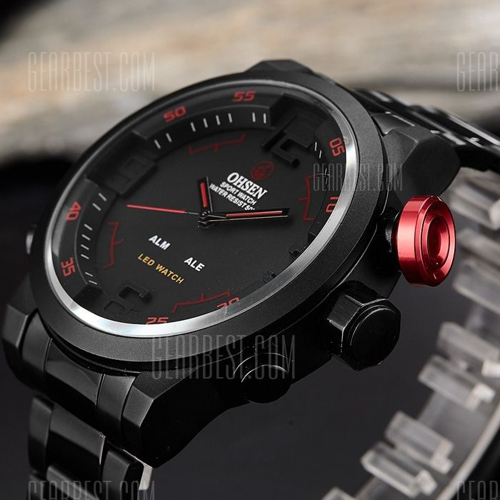 [ $28.95 ] OHSEN AD1608 Trendy Steel Band Men Quartz Watch  -  BLACK AND RED