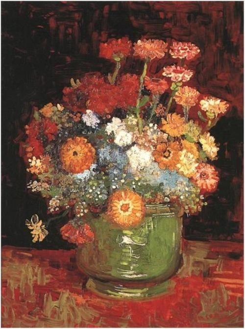 Vincent van Gogh, Vase with Zinnias, 1886.  Art Experience NYC  www.artexperiencenyc.com/social_login/?utm_source=pinterest_medium=pins_content=pinterest_pins_campaign=pinterest_initial