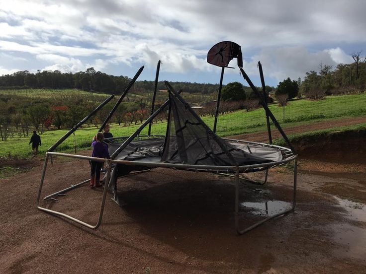 Storm damage to trampoline - make sure to use anchor kits  - http://www.trampolinedeals.com.au/#!blank/btskm/3a1a3c61-87aa-d7a8-bf82-1130b750a91a