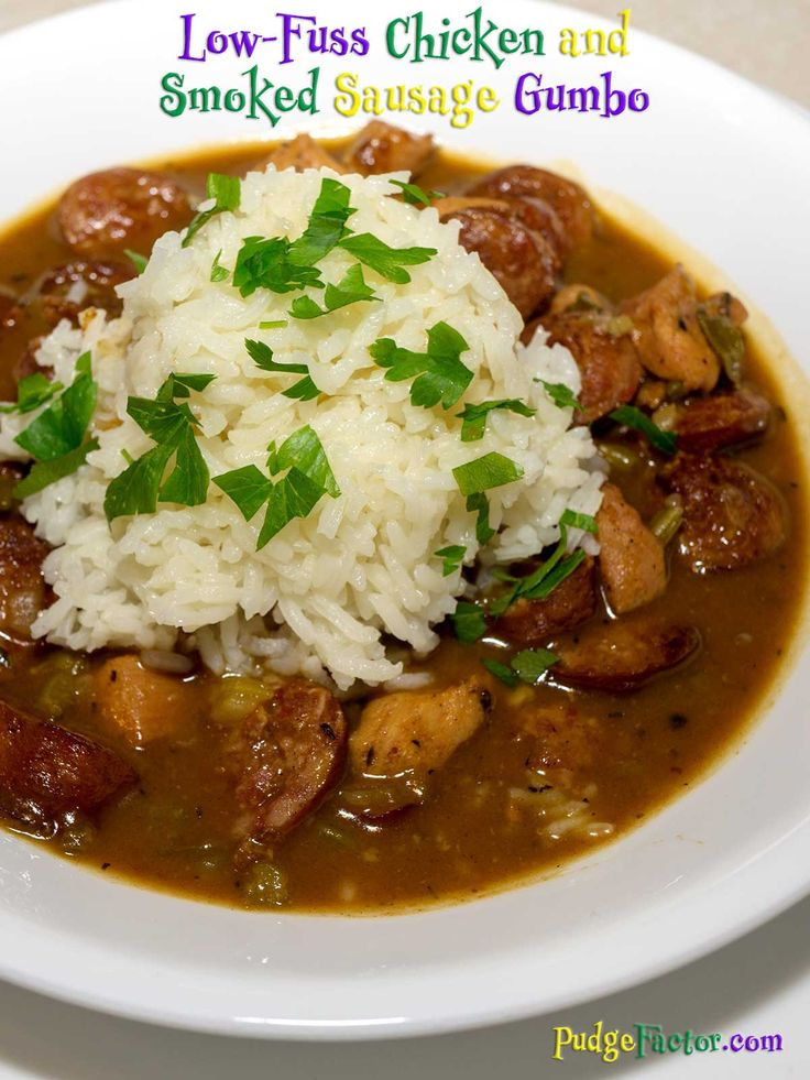 Gumbo is a type of stew consisting primarily of a some sort of stock, meat or shellfish, a roux, and onions, celery, and bell peppers. via @c2king