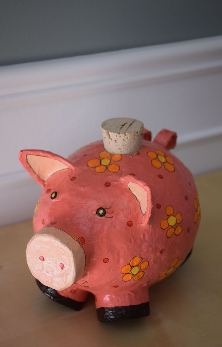 Fun papier-maché piggy bank designed and constructed by Manon Prince Interiors for a very special little girl's room. So cute!