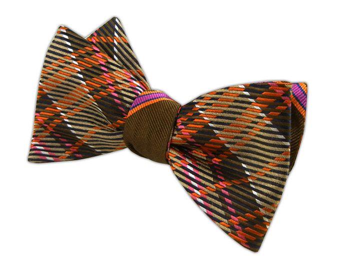 - English Stripe - Chocolate/Orange/Pink (Reversible Bow Ties)
