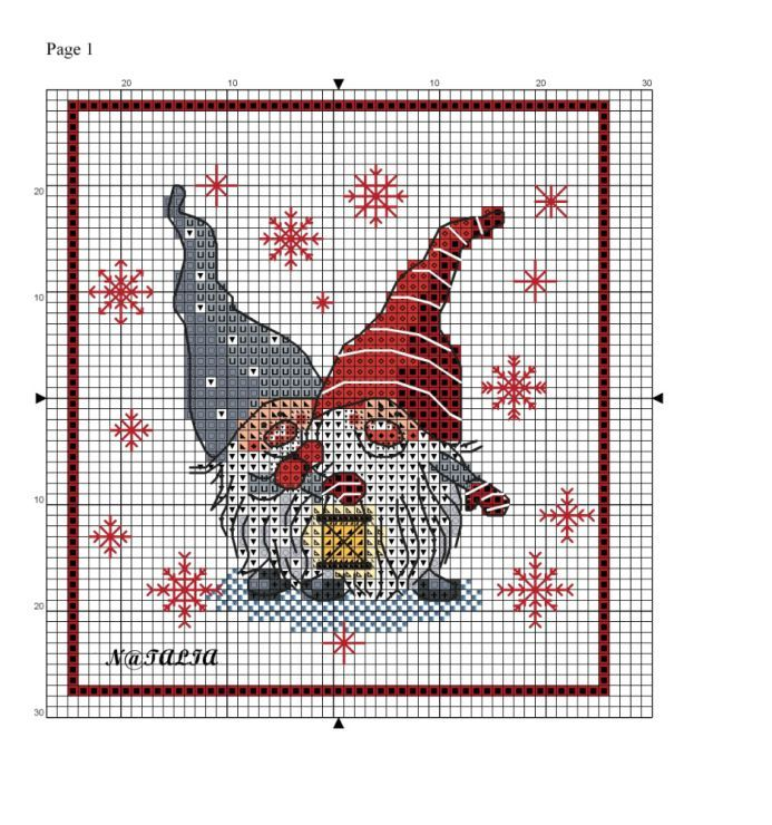 Tomte, Nisse, Norwegian Christmas gnomes.  Cross stitch pattern