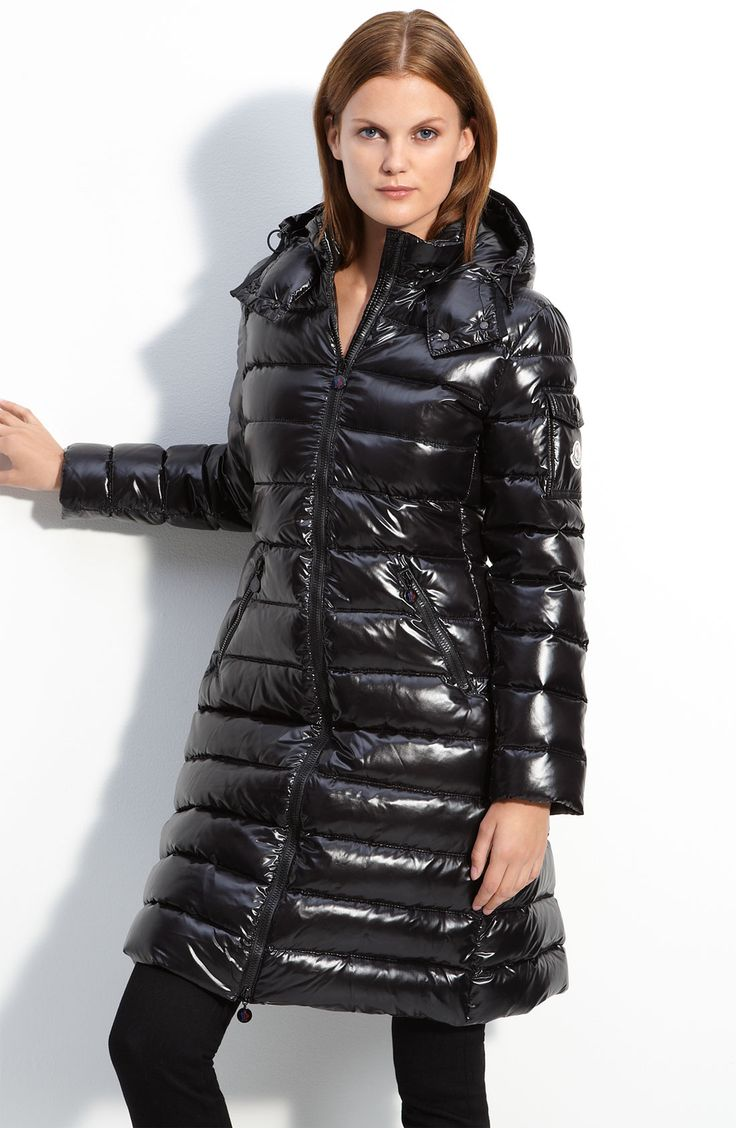Moncler Moka Lacquer Mid Length Down Coat in Black | Lyst
