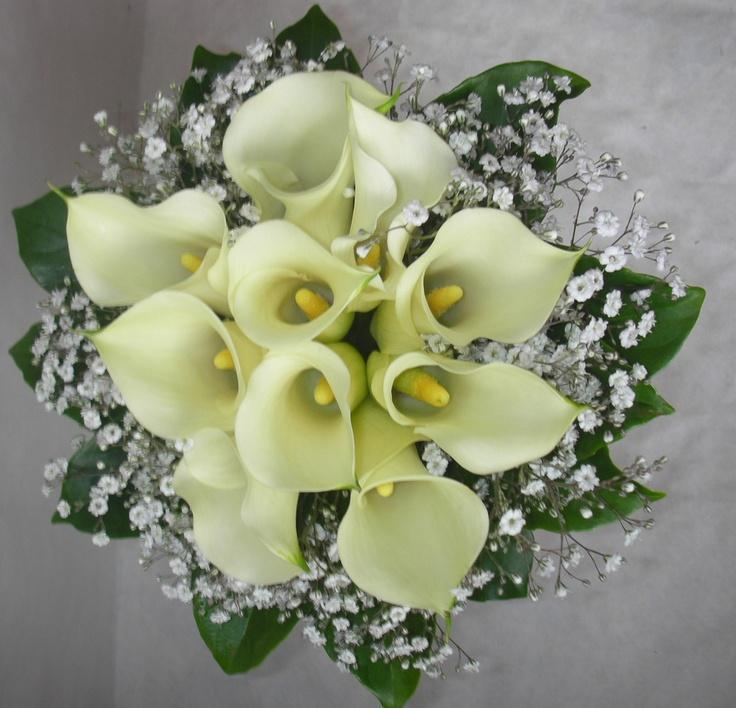Calla Lily Posy Bouquet Babies Breath Gypsophila Collar