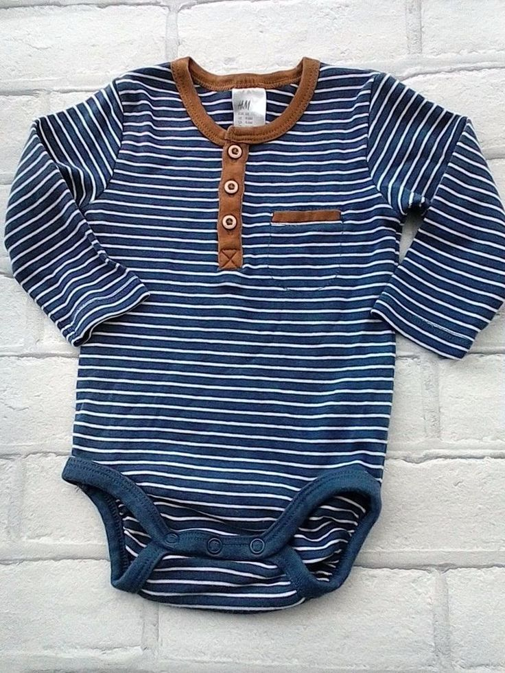 H & M Baby Boys Body Suit Vest Top Long Sleeves  Striped 4-6 months #HM