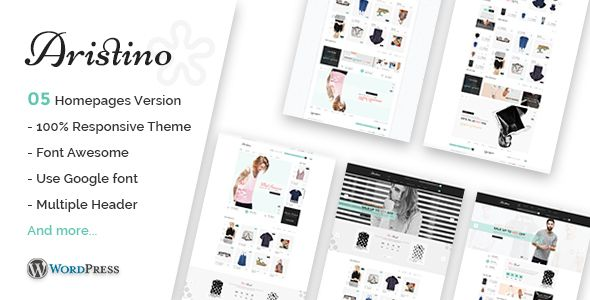 Aristino - Responsive WooCommerce WordPress Theme Aristino is a tidy and responsive WooCommerce WordPress theme suitable for any kind of boutique, clothes store, Fashion, Furniture Shop, makeup products or similar websites that needs a feature rich and beautiful presence online with elegant and flexible design.