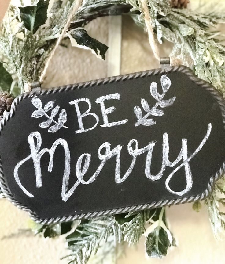 Christmas BE MERRY small chalkboard sign