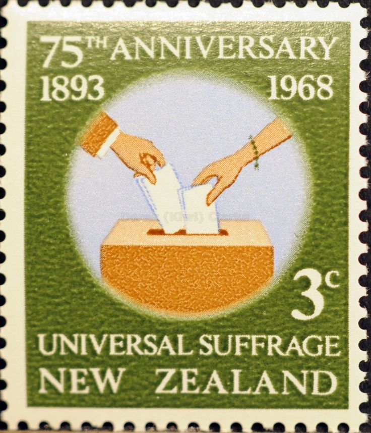 New Zealand (208) 1968 75th Anniversary of Universal Suffrage in New Zealand - Placing Votes in ballot Box