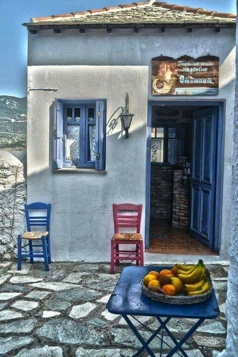 Skopelos Greece coffee shop