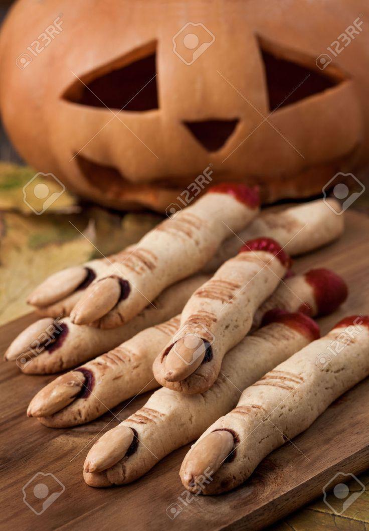 Halloween finger cookies and pumpkin
