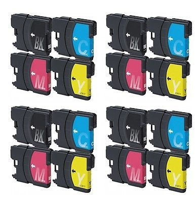 Set of 16 Brother LC 61 Black Cyan Magenta & Yellow Compatible Ink Cartridge