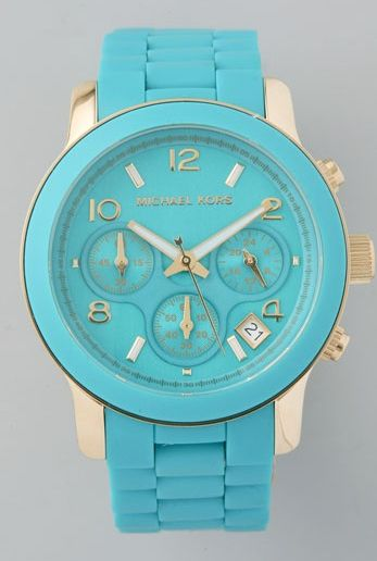 aqua and gold MK<3: Baby Blue, Style, Colors, Tiffany Blue, Mk Watches, Michael Kors Watches, Gold Watches, Accessories, Men Watches