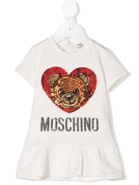 4f854a752 Moschino Kids sequinned heart teddy logo dress | baby fever | Baby ...
