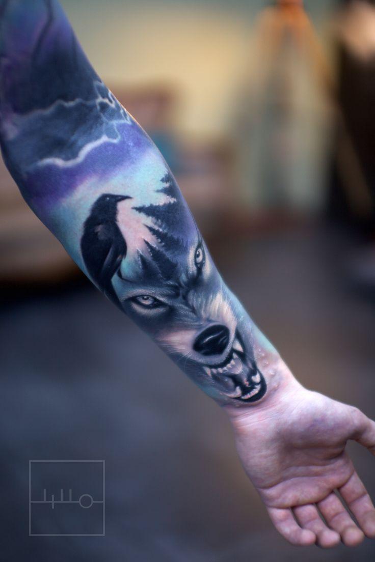 Resultado de imagen para wolf tattoo colors