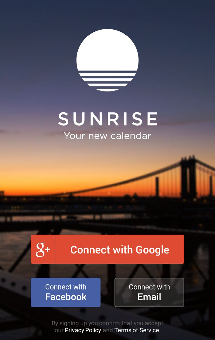 Sunrise Calendar Login / Signup