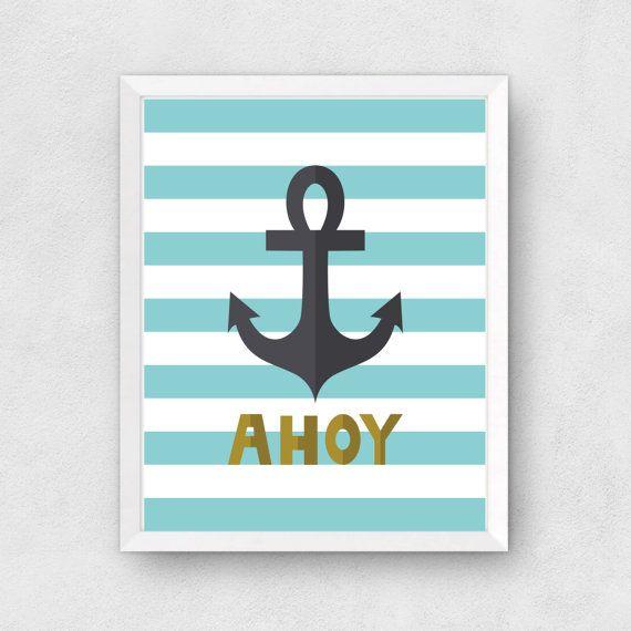 Ahoy Anchor Print Digital Print Instant by BethKateDesigns on Etsy