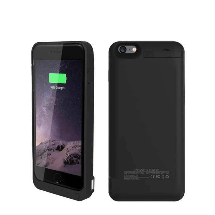Black coloured charging power case for iPhone 6 6s charging cases
