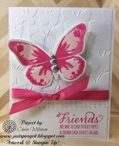 Just Sponge It: Watercolor Wings Tunnel Card, Watercolor Wings Stamp Set, English Garden Designer Series paper, Lots of Labels Framelits, Friendship cards, DIY, Stampin' Up!