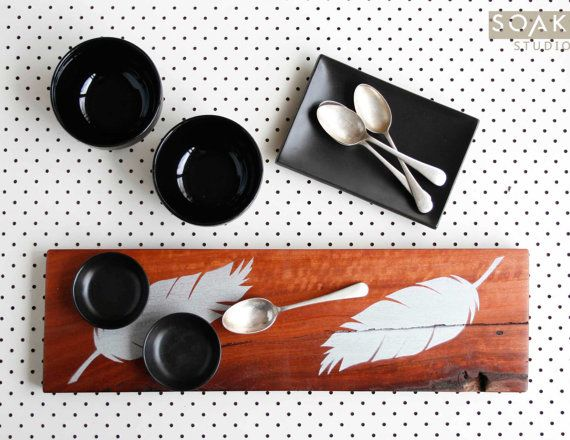 a handmade feast deserves a feature serving board or platter. Silver Feathers on Wooden Serving Board Hand Painted by SoakStudio