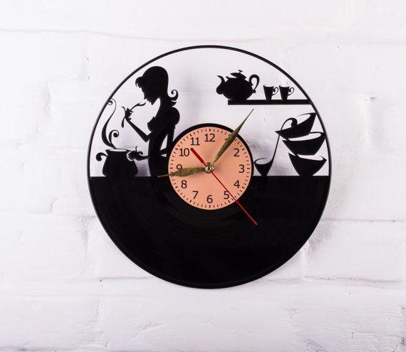 Vinyl Clock kitchen food wall clock gift for by VinylClockUkraine