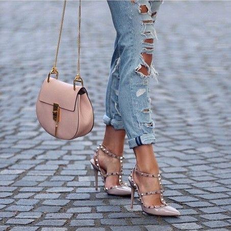 chloe handbag + rockstud heels + distressed denim