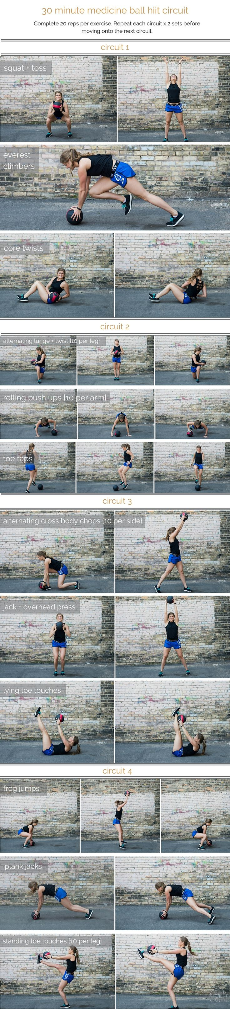medicine ball hiit circuit workout | combine cardio, strength and stability in this medicine ball hiit circuit; a total body workout that you can do in 30 minutes or less. | www.nourishmovelove.com