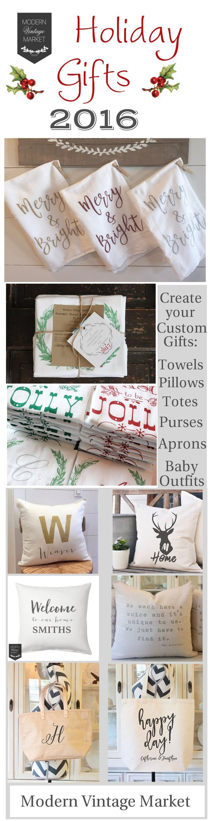 Looking for the prefect gift this holiday? Let us create a personalized gift for you. Have your Grandmothers recipe placed on a kitchen towel, add your favorite quote to a pillow, send a Holiday hand printed flour sack towel. We monogram and customized Pillows, Aprons, Towels, Napkins, Totes, Handbags and Bay Outfits. #modernvintagemarket