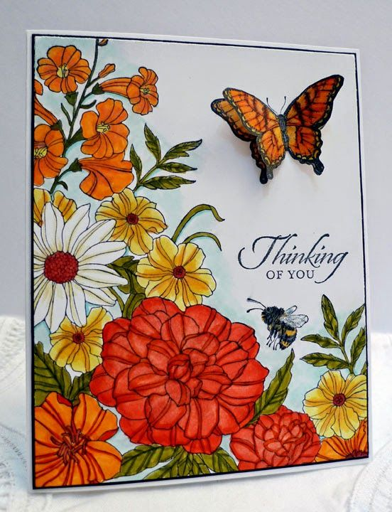 Stampin' Up! ... handmade card from Sleepy in Seattle: Colorful Corner Garden ... luv the warm summery look these flowers take on in oranges and yellows ... Blendies ... shading technique makes these flowers pop ... luv it!