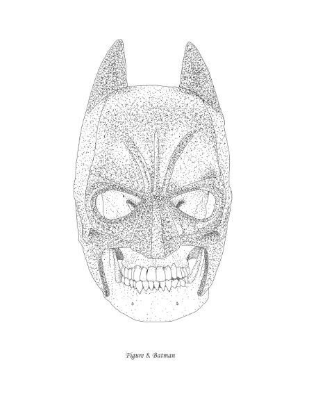 Scientific illustration poster of a Batman / Bruce Wayne skull from Virtual to Vintage on Etsy . Looks like he was human after all . $14