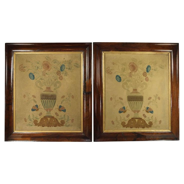 19th Century Theorem Pair of English, circa 1820, Regency Folk Art | From a unique collection of antique and modern tapestries at https://www.1stdibs.com/furniture/wall-decorations/tapestry/