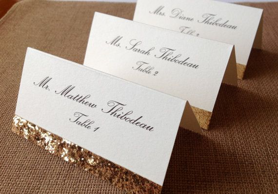Gold glitter place cards wedding escort cards for Place card for wedding