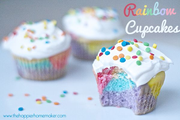 GORGEOUS rainbow cupcakes | Happier Homemaker