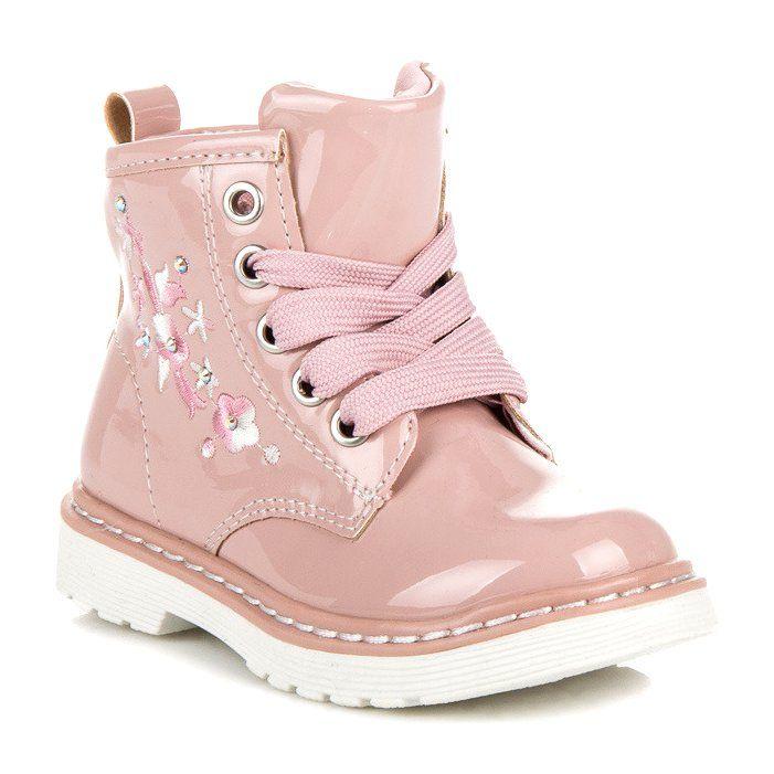Polbuty I Trzewiki Dzieciece Dla Dzieci Americanclub Rozowe Lakierowane Trzewiki American Club Boots Shoes Timberland Boots