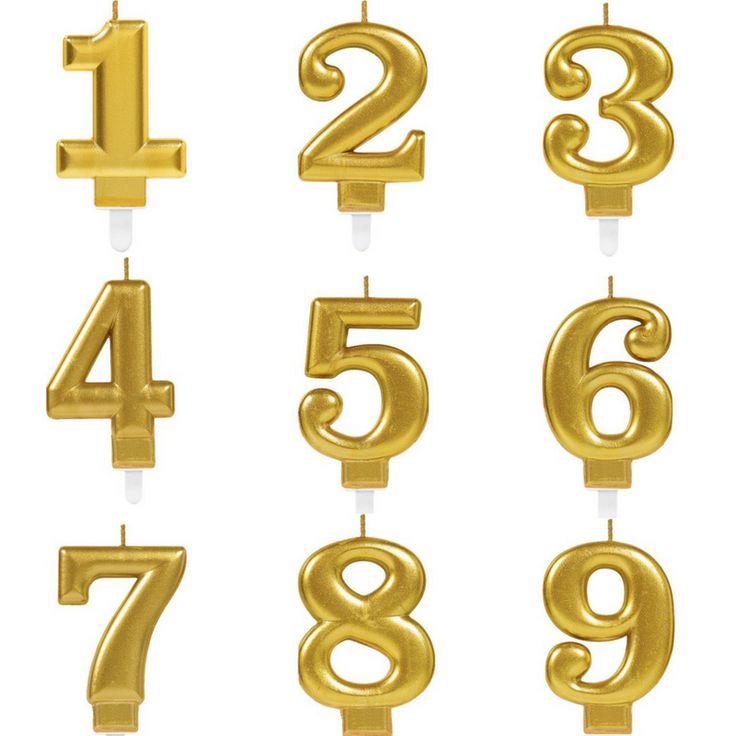Verjaardagskaarsje Cijfer Goud Metallic
