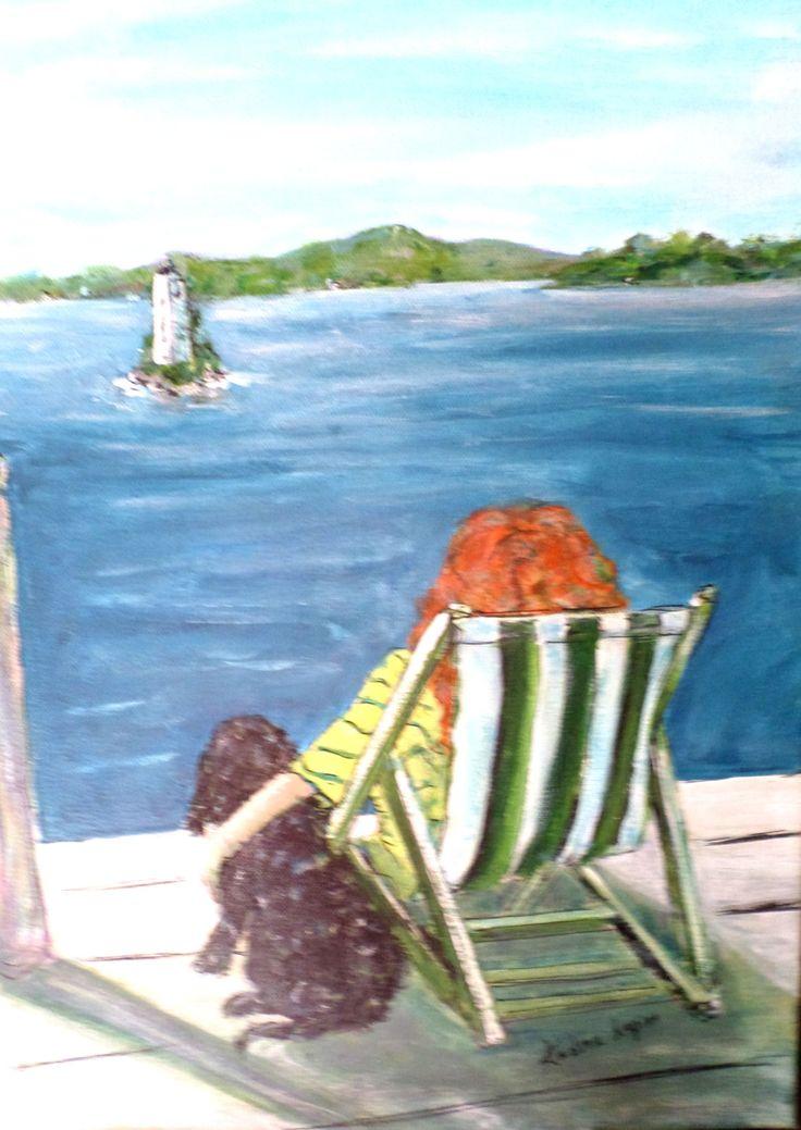 Print, Waiting by the Lake, Girl, Dog, Lake Sunapee, NH, Lake Art, Dock Art, Dog Art, Lighthouse by AndreaLapinsArt on Etsy