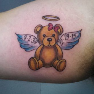 adorable teddy bear tattoo in the angel image