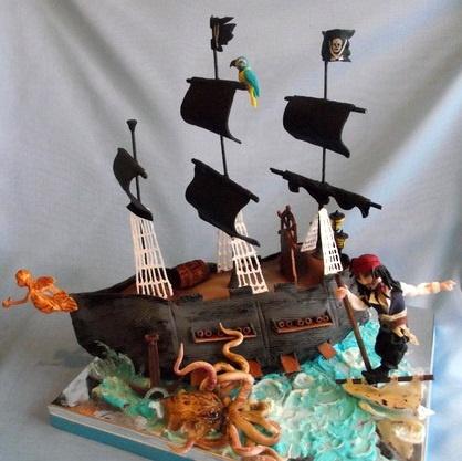 """Торт """"Пираты Карибского моря. Капитан Джек Воробей и гигантский подводный монстр Кракен"""""""