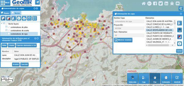 Representación de contenedores en GIS Web