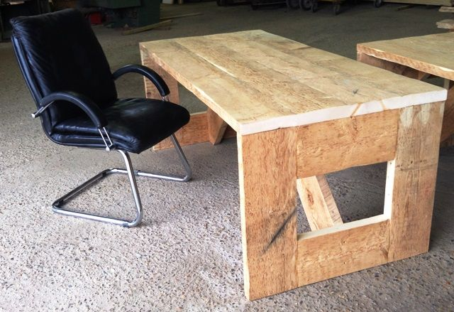Bespoke office desk made from reclaimed timber