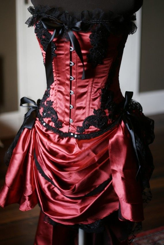 GYPSY - Gorgeous Red Black Burlesque Corset Costume for Halloween $290