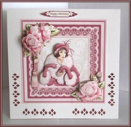 ART DECO LADY in WINE 8X8 Mini Kit Decoupage on Craftsuprint designed by Janet Briggs - made by Rae Trees