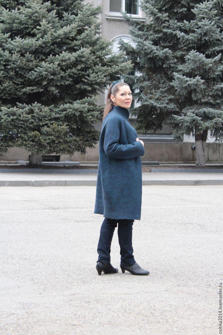 Купить Пальто валяние шерсть Кокон Хамелион - морская волна, однотонный, пальто, пальто женское