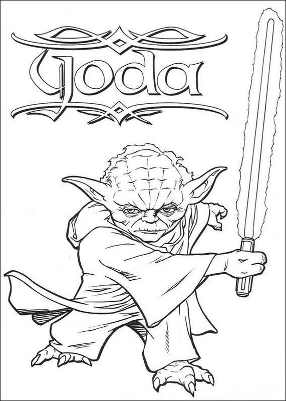 Powerfull Yoda Star Wars Yoda Coloring Pages