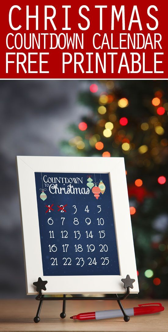 FREE Christmas countdown printable! Perfect addition to your Christmas décor!
